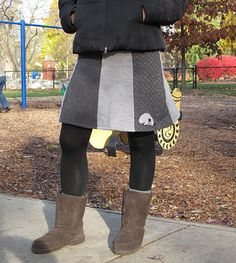 Skirt made from old sweaters.  Cool!  resweater.blogspot.ca