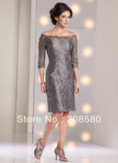 2014 New Arrival Modest Off the Shoulder Silver Gray Formal Long Sleeve Length Taffeta Mother of the Bride Dresses M1657