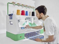 Create a design and press knit. A compact digital knitting machine to bring fashion fabrication back to your neighbourhood.