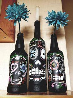 Skulls on bottles