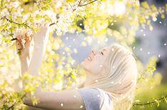 Download Happy Woman Enjoying Spring, Nature, Falling Petal Stock Image - Image: 24721155