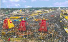 The Ratha Yatra festival has become a common sight in most major cities of the world since 1968. Ganga dynasty instituted the Rath Yatra at the completion of the great temple around 1150 AD. During this Festival, the three deities (Jagannath, Balabadhra, Subhadhra) are taken from the temple to Gundica temple. It is celebrated not only in India but also in other countries of the world.