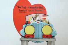 Vintage Valentine 1940's Very Large What Wonderful Lamps
