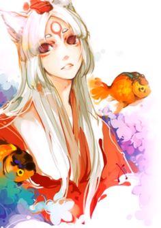 Amaterasu: Japanese goddess, uniqe as one of the few women to personify the SUN. Japanese Goddess, Japanese Mythology, Manga Art, Manga Anime, Illustration Manga, Fandom, Image Manga, Awesome Anime, Game Art