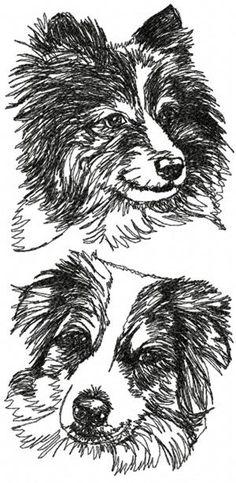 Set of 2 Machine Embroidery Designs Freehand Machine Embroidery, Machine Embroidery Applique, Applique Quilts, Embroidery Patterns, Hand Embroidery, Aussie Shepherd, Australian Shepherd, Shepherd Dog, Blue Merle