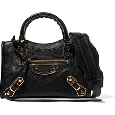 7924ccdc0967 Balenciaga City mini textured-leather shoulder bag ($1,850) ❤ liked on  Polyvore featuring