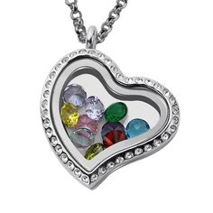 Looking for the perfect gift for a grandmother? Get her this floating locket with birthstones to represent each of her children and grandchildren! When it comes to finding just the right personalized gift, nothing beats this locket! Infinity Necklace, Love Necklace, Birthstone List, Locket Bracelet, Floating Lockets, Heart Locket, Valentine Heart, Diamond Heart, White Gold Rings