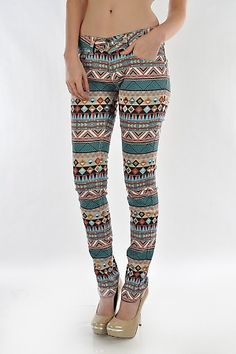 Description New Celeb Style!!!!! Tribal Print Skinny Jeans 5 pocket full stretch Print Skinny Jeans  Color Aqua  Size 0-1-3-5-7-9-11-13-15