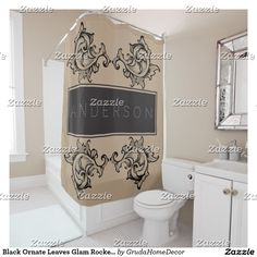 Black Ornate Leaves Glam Rocker - Personalized Shower Curtain