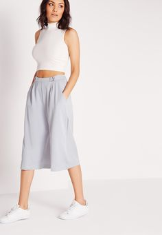Missguided - Buckle Detail Culottes Grey