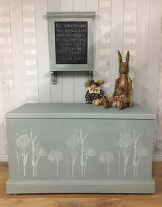 Old blanket box refinished with Annie Sloan Chalk Paint Duck Egg Blue and Origin… Furniture, Duck Egg Blue Annie Sloan, Painted Furniture, Painted Trunk, Painted Boxes, Blanket Box, Chalk, Painted Wooden Boxes, Annie Sloan Painted Furniture