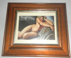 "Nude on a Terrace Tamara de Lempicka print Framed & glazed 13.5 x 12"" Art Deco"