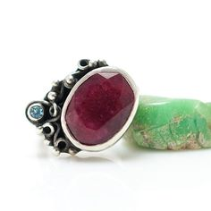 Silver Ruby Ring with Topaz, Metalsmith Handmade Jewelry, One of a Kind, OOAK, Silversmith Ring on Etsy, $110.00