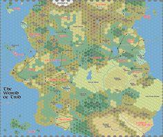 Mapa mundi hexagonal e com separação de terrenos
