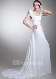 Straps Zipper Ruched Chiffon Sweep Sash White A-line Sleeveless Wedding Dresses
