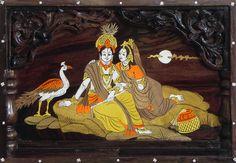 Radha Krishna - Inlaid Wood Wall Hanging (Wood Inlay)