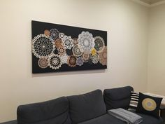 Finally finished my doily wall art. Probably 1000 hours of crocheting etc but i like it! Doily Art, Lace Art, Diy Craft Projects, Diy And Crafts, Diy Wall Art, Wall Decor, Doilies Crafts, Copic Sketch Markers, Bazaar Ideas