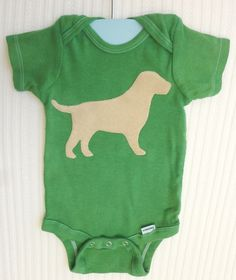 Yellow Lab Green HandDyed Onesie  Velvety Soft Suede by snazberry, $12.00