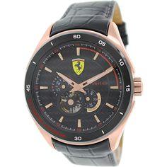 Ferrari Men's Gran Premio 0830108 Black Leather Automatic Watch