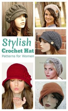 With my short hair style, sometimes I need to throw on a cute hat to cover my bedhead. Here's a collection of stylish crochet hat patterns for women. They'd also make cute handmade gifts and would be perfect to look stylish as well as warm in winter! #Crochethats