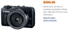 "Canon EOS M listed as ""no longer available"""