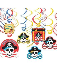 Even pirates like party decorations! Outfit your pirate party with Pirate's Treasure Swirl Decorations, featuring colorful blue, yellow and red foil swirls with pirate decorations at the bottom. Pirate Decor, Pirate Theme, Pirate Party, Pirate Birthday, 2nd Birthday Parties, Boy Birthday, Caribbean Party, Discount Party Supplies, Pirate Treasure