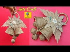 Campanelle con lo spago DIY-Christmas Jingle Bells From Jute Yule Crafts, Christmas Crafts To Make, Ornament Crafts, Jute Flowers, Paper Flowers Diy, Flower Crafts, Diy Crafts Hacks, Diy Crafts For Gifts, Handmade Crafts