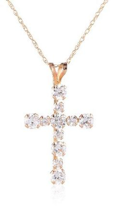 Buy 10k Gold Swarovski Elements RD Cross Pendant Necklace (1/2 cttw) securely online today at a great price. buy at mariescrystals.com