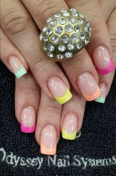 Colored French Manicure To Rock The Spring #Springnails #Springnailart #Springmanicure #Springnailartideas #Nails #Nailart #Nailartdesigns #Frenchmanicure