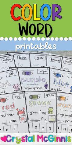 Toddler Learning Activities, Reading Activities, Literacy Activities, School Resources, Teacher Resources, Color Word Activities, First Grade, Grade 1, Word Sentences