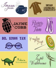 Firefly character trinkets #firefly #whedonverse - this is great, though I'd have put Jayne's silly hat instead :)