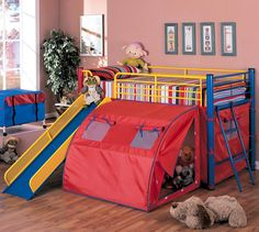 Oates Bunk Bed with Slide and Tent by Coaster