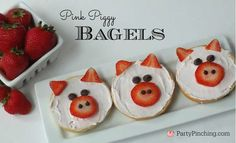 Pink piggy bagel breakfast, easy breakfast for kids from the new book Wild Eats & Adorable Treats! (Breakfast For Kids) Breakfast Bagel, Breakfast For Kids, Best Breakfast, Cute Food, Good Food, Yummy Food, Animal Snacks, Preschool Snacks, Preschool Cooking