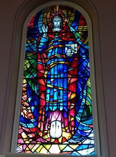 Window at Trinity Methodist Church, Parson Lane, Clitheroe. Lancashire. This window was created when three Methodist churches came together in the 1960's Waterloo/Moor Lane/Wesley. This view shows Christ the Redeemer.  SD 74104 41695