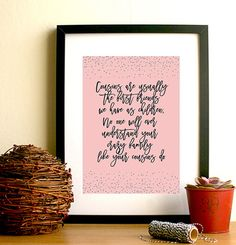 Cousin Quote Print Family Wall Art Cousin by HangingMonkeyArts