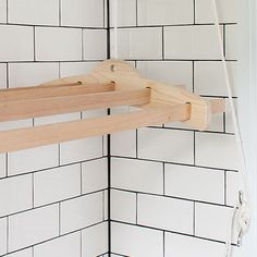 WOOD HANGING DRYING RACK...idea for current half bath (once we add the shower) or for the garage