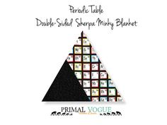 Periodic Table Science Themed Double-Sided Sherpa Minky Blanket by Primal Vogue™ - 36x36 40x60 - Multicolor - Very Soft Cuddle Minky