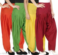 Ethnic Bottomwear - Patiala Pants Women's Solid Cotton Patiala Pant ( Pack of 4 ) Fabric: Cotton Waist Size:  M- 30 in, L- 32 in, XL- 34 in , XXL - 36 in Length: Up to 39 in Type: Stitched Description: It has 4 Pieces Of Patiala Pant Pattern: Solid Sizes Available: Free Size, S, M, L, XL, XXL, XXXL, 4XL *Proof of Safe Delivery! Click to know on Safety Standards of Delivery Partners- https://ltl.sh/y_nZrAV3  Catalog Rating: ★4.2 (5909)  Catalog Name: Eva Women's Solid Cotton Patiala Pants Combo Vol 17 CatalogID_260422 C74-SC1018 Code: 984-1971847-