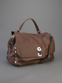 Zanellato Brown Leather Studded Satchel #zanellato #satchelbags #messengerbags #bags #totes www.jofre.eu