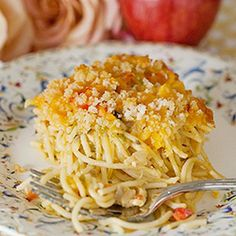 Baked Chicken Spaghetti Casserole…basic, warm, delicious comfort food, perfect for a crowd.