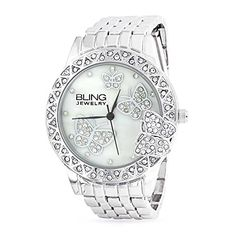Memorial Day Bling Jewelry Stainless Steel Back Classic Crystal Butterfly Womens Fashion Watch - This lovely stainless steel back butterfly watch is the perfect accessory. Made from stainless steel back, this womens watch is a durable piece with a versatile style. The round face on this watch for women features a geometric patterned bezel accented with glittering crystals and a sweet little... - http://ehowsuperstore.com/bestbrandsales/jewelry/memorial-day-bling-jewelry-stain