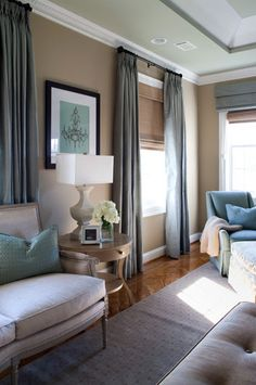 Furnished by designer Plucker Plucker Peake, this master bedroom boasts a neutral palette punctuated by teal accents. Living Room Windows, Formal Living Rooms, Living Room Decor, Living Spaces, Bedroom Decor, Beige Living Rooms, Living Room Inspiration, Home Decor Inspiration, Hirsch Design