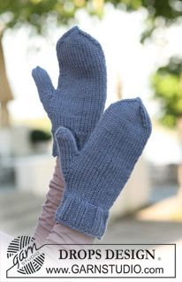 "Knitted DROPS basic mittens in ""Nepal"". ~ DROPS Design"