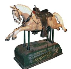 Trigger Coin Operated Kid's Riding Horse in front of EVERY grocery, dime and drug store in the US. My Childhood Memories, Childhood Toys, Sweet Memories, Mechanical Horse, Pony Rides, Antique Coins, Carousel Horses, All The Pretty Horses, The Good Old Days
