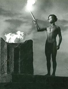 The lighting of the Olympic torch in Olympia (1938, dir. Leni Riefenstahl)