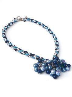 Ketting met blauwe glasparels door PerElle