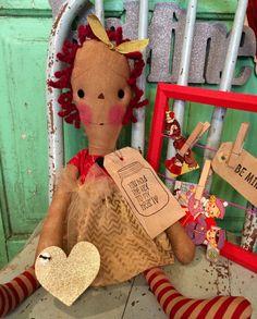 Valentine's Day Raggedy Ann doll by oldragdollcupboard on Etsy