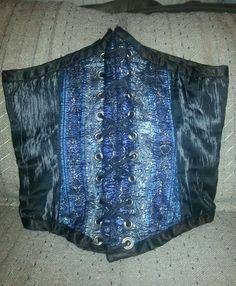 Renaissance Underbust Corset - Waist Cincher - Black & Blue - REVERSIBLE  #CorsetDivas #UnderbustCorset