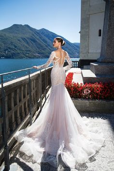 Milla Nova Backless Wedding Dresses With Long Sleeves Mermaid Sheer Plunging Neck Trumpet Bridal Gowns Sweep Train Tulle Lace Wedding Dress Backless Wedding, Bridal Wedding Dresses, Bridal Lace, Dream Wedding Dresses, 2017 Wedding, Lace Wedding, Mermaid Wedding, Wedding Blog, Wedding Ideas