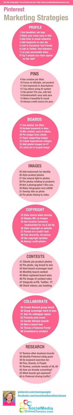 Infographic on 64 ways to market your business on Pinterest. From the Pinterest 101 class at SocialMediaOnlineClasses.com